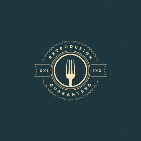 restaurante italiano: Restaurante Tienda de elemento de diseño de estilo vintage para el logotipo, marca, insignia y otro diseño. ilustración vectorial retro tenedor.