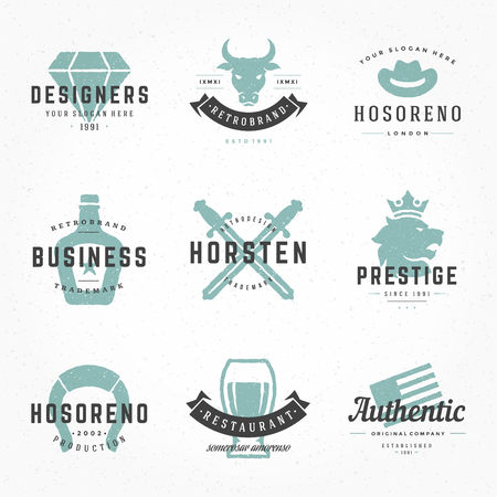 Retro Vintage Logotypes or insignias Hand drawn style set. Vector design elements, business signs, logos, identity, labels, badges, apparel, shirts, ribbons, stickers and other branding objects. Illustration