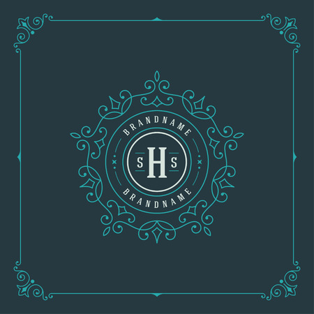 art border: Luxury Logo template flourishes calligraphic elegant ornament lines. Business sign, identity for Restaurant, Royalty, Boutique, Cafe, Hotel, Heraldic, Jewelry, Fashion and other vector illustration Illustration