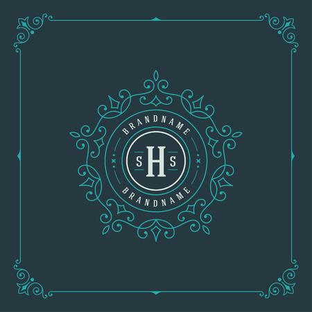 boutique hotel: Plantilla Logo Lujo florece caligráficas elegantes líneas ornamento. Rótulo de establecimiento, la identidad de restaurante, Realeza, Boutique, Café, Hotel, heráldico, Joyería, Moda y otra ilustración vectorial