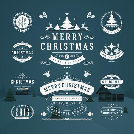 etiqueta: Adornos de Navidad Elementos de diseño vectorial. Elementos tipográficos, símbolos, iconos, Vintage etiquetas, insignias, marcos, adornos creado. Flourishes caligráficos. Feliz Navidad y Felices Fiestas deseos. Vectores