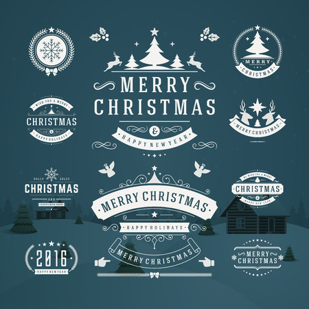 badge logo: Christmas Decorations Vector Design Elements. Typographic elements, Symbols, Icons, Vintage Labels, Badges, Frames, Ornaments set. Flourishes calligraphic. Merry Christmas and Happy Holidays wishes.
