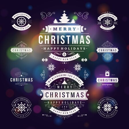 badge: Christmas Decorations Vector Design Elements. Typographic elements, Symbols, Icons, Vintage Labels, Badges, Frames, Ornaments set. Flourishes calligraphic. Merry Christmas and Happy Holidays wishes.