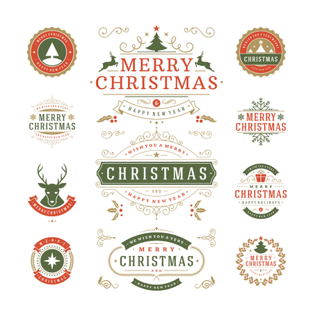 Kerst labels en badges Vector Design. Decoraties elementen, symbolen, iconen, frames, ornamenten en linten, in te stellen. Typografische Vrolijk Kerstfeest en Gelukkig Vakantie wensen.