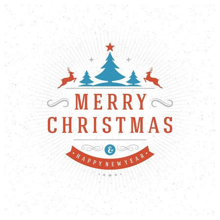 red label: Merry Christmas Greeting Card Typography and Decorations Vector Background. Christmas Tree and Happy New Year Message on textured paper. Illustration