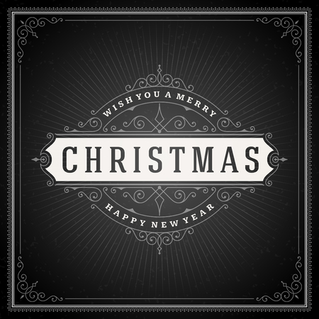 festive background: Christmas typography greeting card and flourishes ornament decoration. Merry Christmas holidays wish and happy new year message chalk style design on chalkboard background. Vector illustration.