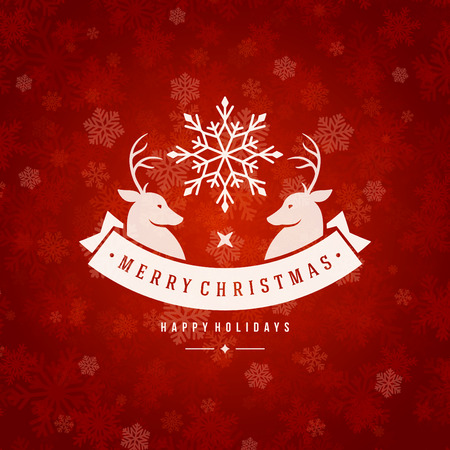 Christmas greeting card lights and snowflakes vector background. Merry Christmas holidays wish and Happy new year message typography design and vintage ornament. Vector illustration.  イラスト・ベクター素材