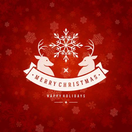 fondo rojo: Luces de la Navidad de tarjetas de felicitación y los copos de nieve de fondo vector. Feliz Navidad vacaciones de deseo y nuevo diseño feliz mensaje de año tipografía y ornamento de la vendimia. Ilustración del vector.