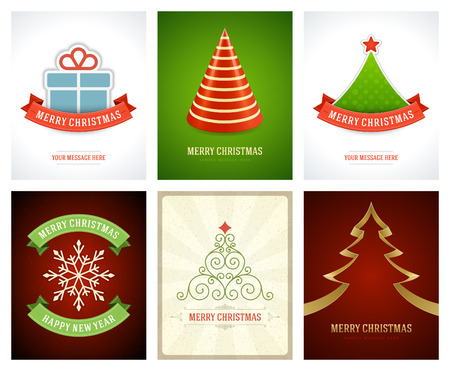 christmas backgrounds: Christmas greetings cards vector backgrounds set. Merry Christmas holidays wish message typography design and decorations. Vector illustration.