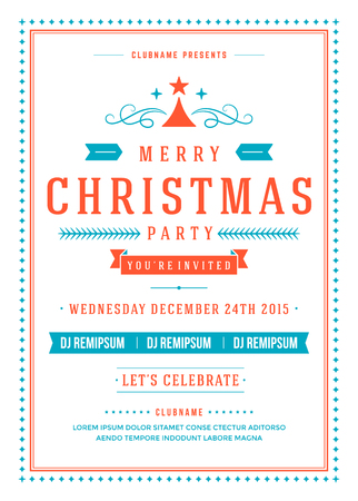 holiday party: Christmas party invitation retro typography and ornament decoration. Christmas holidays flyer or poster design. Vector illustration.