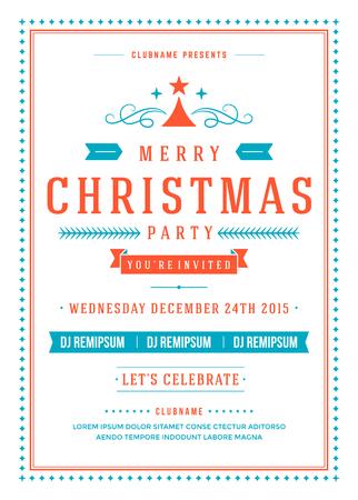 festa: Convite da festa de Natal tipografia retro e decoração do ornamento. Natal feriados insecto ou projeto do cartaz. Ilustração do vetor. Ilustração