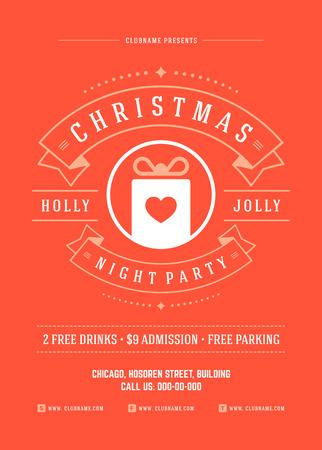 mo�os de navidad: Invitaci�n de la fiesta de Navidad de la tipograf�a retro y ornamento de la decoraci�n. Vacaciones de Navidad Flyer o dise�o del cartel. Ilustraci�n del vector. Vectores