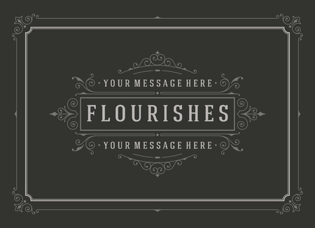 boutique: Vintage ornament greeting card vector template. Retro wedding invitations, advertising or other design and place for text. Flourishes frame chalkboard style.