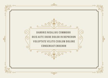 bordes decorativos: Cita Ornamento Vintage Marcas Box diseño de la plantilla vector del marco y el lugar de texto. Retro florece estilo pizarra marco. Vectores