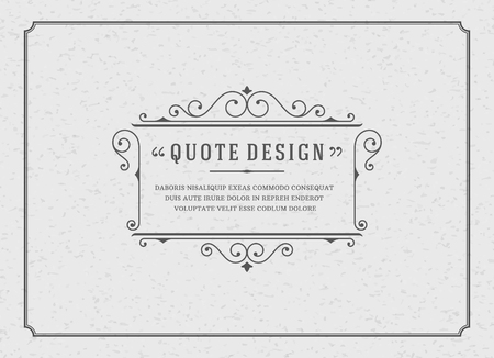 Vintage Ornament Quote Marks Box Frame Vector template ontwerp en plaats voor tekst. Retro bloeit kader schoolbord stijl. Stock Illustratie