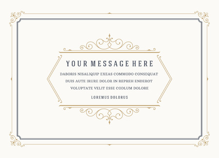 Vintage Ornament Quote Marks Box Frame Vector template design and place for text. Retro flourishes frame chalkboard style. Vectores