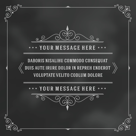 frame  box: Vintage Ornament Quote Marks Box Frame Vector template design and place for text. Retro flourishes frame chalkboard style. Illustration