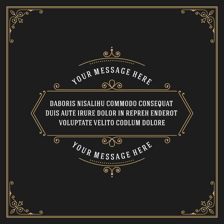 style: Vintage Ornament Quote Marks Box Frame Vector template design and place for text. Retro flourishes frame chalkboard style. Illustration