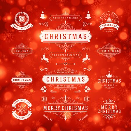 vector set: Christmas Decorations Vector Design Elements. Typographic elements, Symbols, Icons, Vintage Labels, Badges, Frames, Ornaments set. Flourishes calligraphic. Merry Christmas and Happy Holidays wishes.