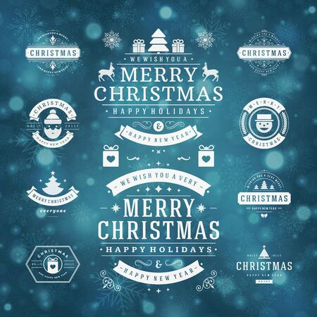 happy holidays: Christmas Decorations Vector Design Elements. Typographic elements, Symbols, Icons, Vintage Labels, Badges, Frames, Ornaments set. Flourishes calligraphic. Merry Christmas and Happy Holidays wishes.