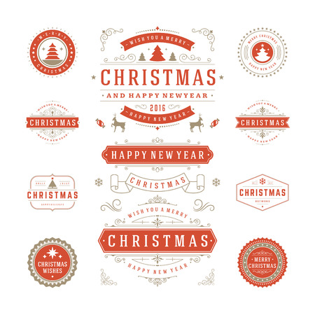 gifts: Christmas Labels and Badges Vector Design. Decorations elements, Symbols, Icons, Frames, Ornaments and Ribbons, set. Typographic Merry Christmas and Happy Holidays wishes.