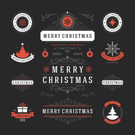 wish of happy holidays: Christmas Labels and Badges Vector Design. Decorations elements, Symbols, Icons, Frames, Ornaments and Ribbons, set. Typographic Merry Christmas and Happy Holidays wishes.