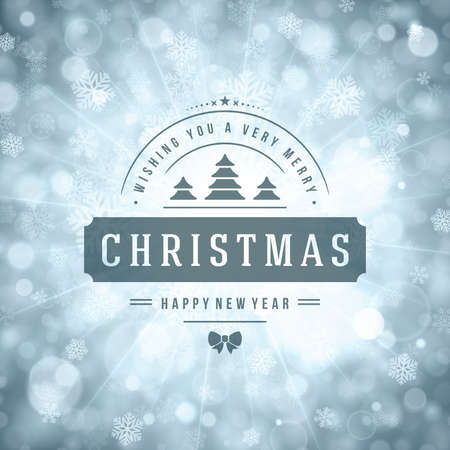 seasons of the year: Christmas greeting card lights and snowflakes vector background. Merry Christmas holidays wish message typography design and decorations. Vector illustration.