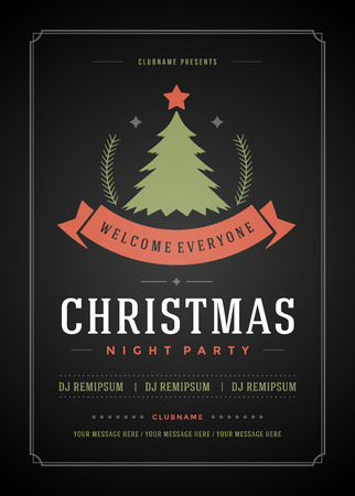 retro party: Christmas party invitation retro typography and ornament decoration. Christmas holidays flyer or poster design. Vector illustration.