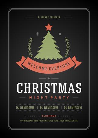 tarjeta de invitacion: Invitaci�n de la fiesta de Navidad de la tipograf�a retro y ornamento de la decoraci�n. Vacaciones de Navidad Flyer o dise�o del cartel. Ilustraci�n del vector. Vectores