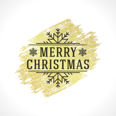 brush stroke: Merry Christmas Typography Greeting Card Design and Decoration Vector Background. Gold Texture paint stain hand drawn brush stroke. Illustration