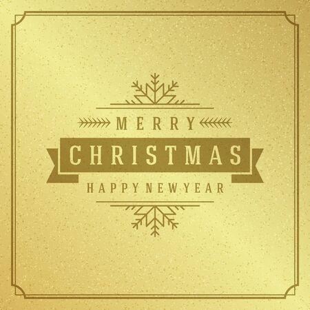 textura: Feliz Navidad Tipografía Diseño Tarjeta de felicitación y las vacaciones desean Vector de fondo. Decoración de oro brillante papel de textura. Vectores