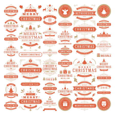 stamps: Christmas decorations vector design elements. Typographic messages, vintage labels, frames ribbons, badges logos, ornaments set. Flourishes calligraphic. Big Collection.