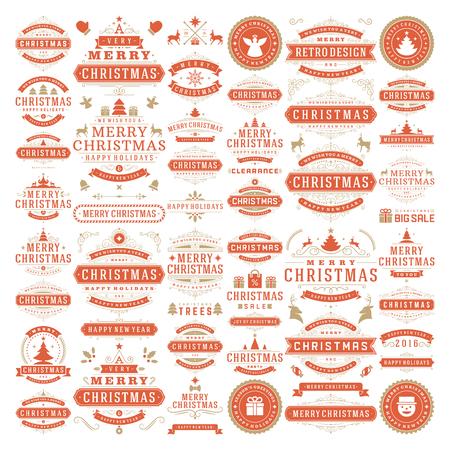 Christmas decorations vector design elements. Typographic messages, vintage labels, frames ribbons, badges logos, ornaments set. Flourishes calligraphic. Big Collection.