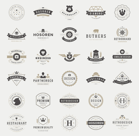 vintage logo: Retro Vintage Logotypes or insignias set. Vector design elements, business signs, logos, identity, labels, badges, ribbons, stickers and other branding objects.