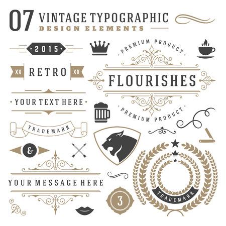 vendimia: Elementos tipográficos de época retro de diseño. Etiquetas cintas, símbolos logotipos, coronas, remolinos caligrafía, adornos y otros.