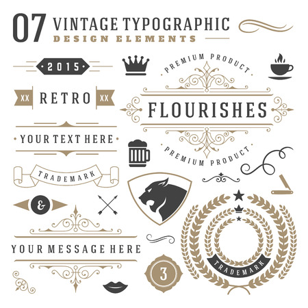 Retro vintage typographic design elements. Labels ribbons, logos symbols, crowns, calligraphy swirls, ornaments and other. Иллюстрация