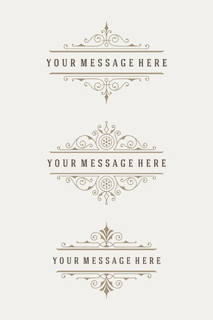 combinations: Vintage vector swirls ornaments decorations design elements and place for text. Flourishes calligraphic combinations retro design for Invitations, Posters, Badges, Typographic Quotes and other design.