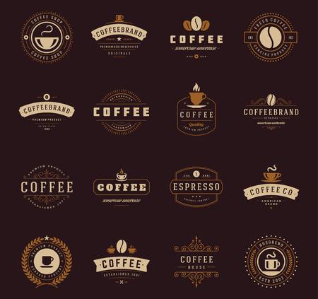 manos logo: Cafetería Logos, insignias y etiquetas de elementos de diseño. Copa, frijol, estilo de café de la vendimia objetos retro ilustración vectorial.