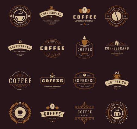 Coffee Shop Logos, Badges and Labels Design Elements set. Cup, beans, cafe vintage style objects retro vector illustration. Vettoriali