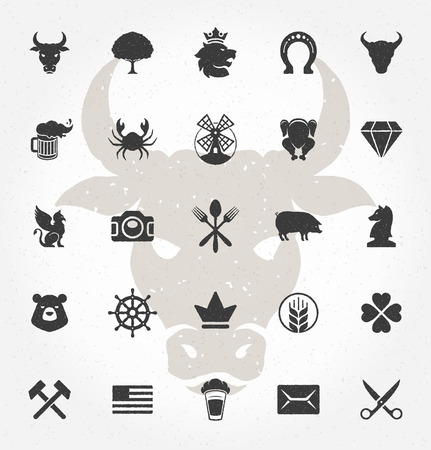 signs and symbols: Retro Hand Drawn Objects and Icons Vector Design Elements. Signs and Symbols for design Vintage Logotypes, Business signs, Identity, Labels, Badges and other design.