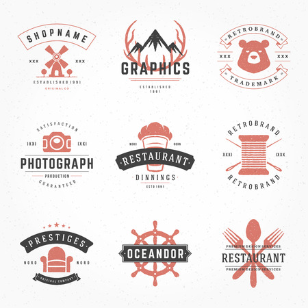 business shirts: Retro Vintage Logotypes or insignias Hand drawn style set. Vector design elements, business signs, logos, identity, labels, badges, apparel, shirts, ribbons, stickers and other branding objects. Illustration