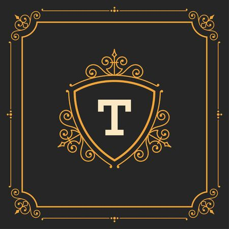 luxury template: Luxury Logo template flourishes calligraphic elegant ornament lines. Business sign, identity for Restaurant, Royalty, Boutique, Cafe, Hotel, Heraldic, Jewelry, Fashion and other vector illustration Illustration