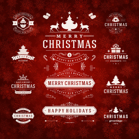 feriado: Adornos de Navidad Elementos de diseño vectorial. Elementos tipográficos, símbolos, iconos, Vintage etiquetas, insignias, marcos, adornos creado. Flourishes caligráficos. Feliz Navidad y Felices Fiestas deseos. Vectores