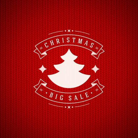 fabric texture: Christmas big sale message ribbons and tree on red fabric texture vector background