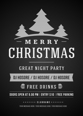 christmas party: Christmas party invitation retro typography and ornament decoration. Christmas holidays flyer or poster design. Vector illustration Illustration