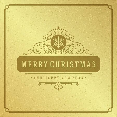 shiny gold: Merry Christmas Typography Greeting Card Design and Holidays wish Vector Background. Decoration shiny gold texture paper.