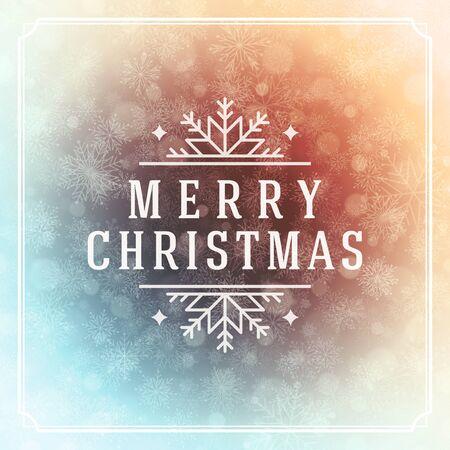 vacanza: Luci di Natale biglietto di auguri e fiocchi di neve vettore. Vacanze Buon Natale desiderano messaggio progettazione tipografia e decorazioni. Illustrazione vettoriale.