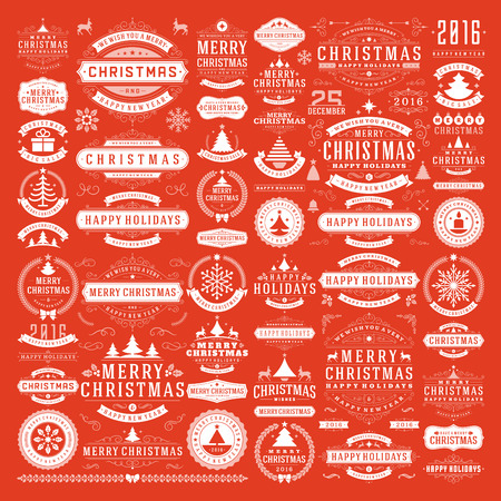 badge: Christmas decorations vector design elements. Typographic messages, vintage labels, frames ribbons, badges  ornaments set. Flourishes calligraphic. Big Collection. Illustration