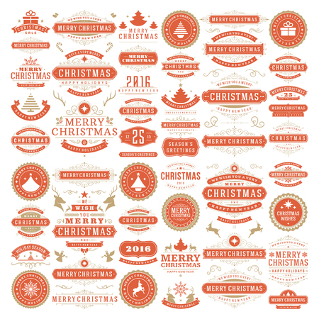 decor: Christmas decorations vector design elements. Typographic messages, vintage labels, frames ribbons, badges logos, ornaments set. Flourishes calligraphic. Big Collection.