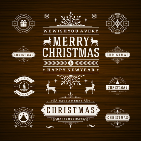 christmas icon: Christmas Decorations Vector Design Elements. Typographic elements, Symbols, Icons, Vintage Labels, Badges, Frames, Ornaments set. Flourishes calligraphic. Merry Christmas and Happy Holidays wishes.